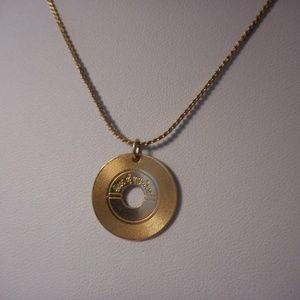 "Avon Dance With Me Record Pendant Necklace 16"" L"